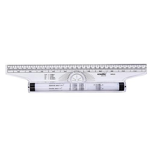 30CM Angle Parallel Ruler Roller Design Drawing Ruler Multi-purpose Ruler Tranaparent