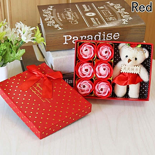 Eleganya Romantic Valentine's Day Bath Soap Gift Box With 6 Rose Flower+1 Bear