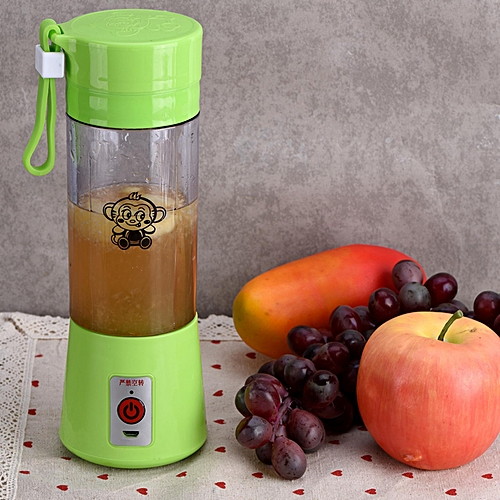 400ML Portable Rechargeable USB Juicer Fruit Juice Extractor Handheld Blender Bottle Cup (Green)