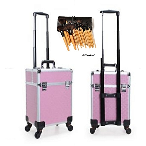 Generic Professional Makeup Box With Trolley - Pink And Silver With Free 24 Set Bamboo Brush