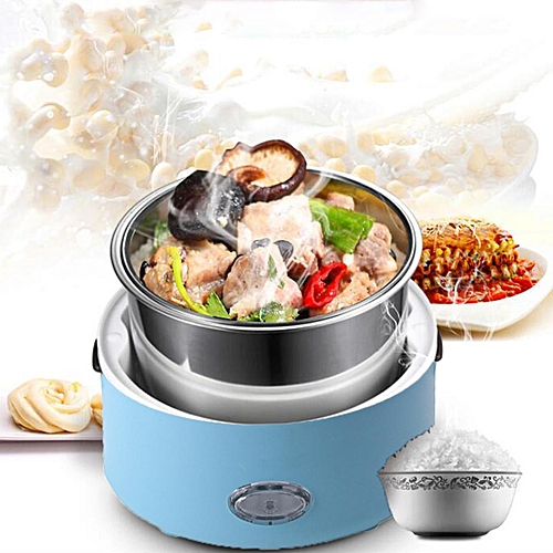Electric Portable Lunch Box Rice Cooker Steamer 3 Layer Stainless Steel Blue