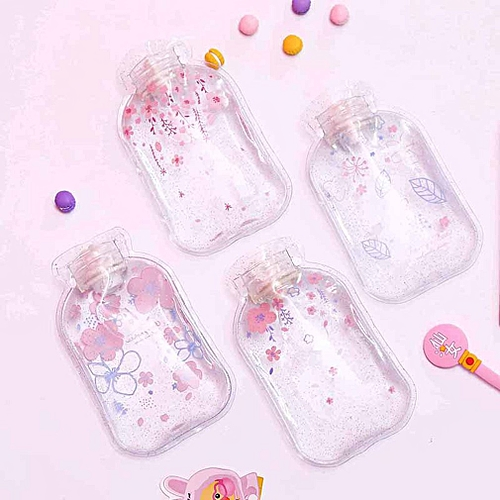 Cherry Print Hot Water Bottle Bag Small Portable Water Injection Bag Random