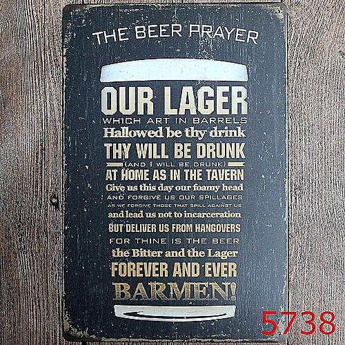 2PCS Bar Cafe Wall Decor Tail Beer Metal Poster Tin Sign Wall Hanging Home Decor