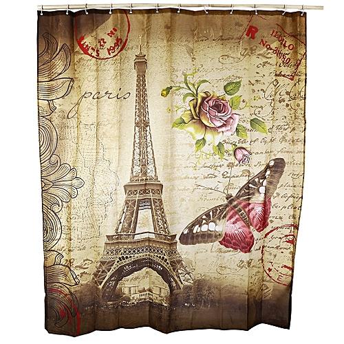180 X 200cm Retro Butterfly Eiffel Tower Pattern Water Resistant Bathroom Shower Curtain