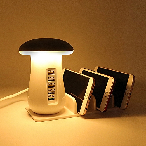 YWXLight 5 Port USB Charging Holder With Stand And Vertical Mushroom LED Lamp