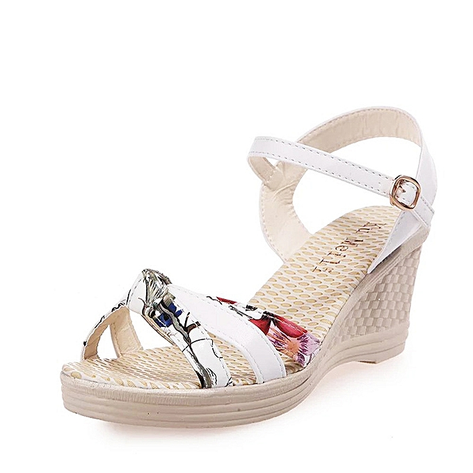 8b93975cd Fohting Ladies Women Wedges Shoes Summer Sandals Platform Toe High-Heeled  Shoes -White