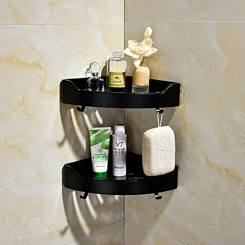 Double Black Triangle Corner Caddy Bathing Platform With Hooks Kitchen Wall Nail Storage With Free Glue,SBH189B-2