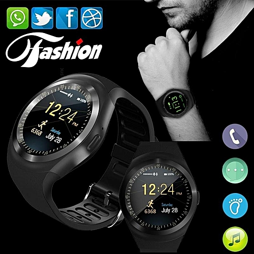 Generic New StuffSmart Watchs Y1 Round Display Support Nano SIM &TF Card With Whatsapp And Facebook Men Women Business Smartwatch For IOS/ Android-black