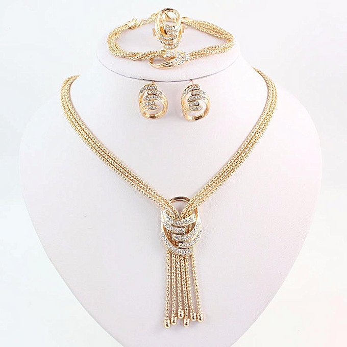 Generic Fashion Women African Jewelry Gold Plated Alloy
