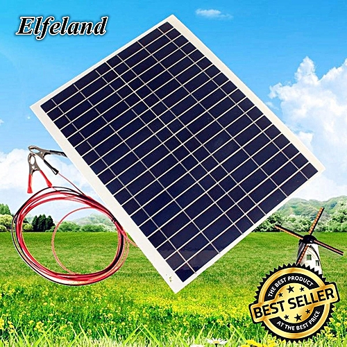 20W 12V Module Solar Panel Battery Cells Phone Charger RV Boat Motor Camping