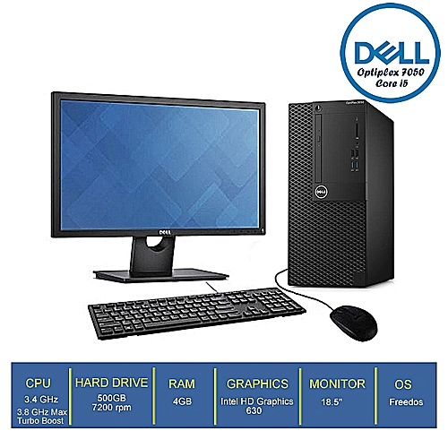 Optiplex 7050-2 Mini Tower Core-i5 4GB/500GB HDD + 18.5'' Monitor (FREEDOS)