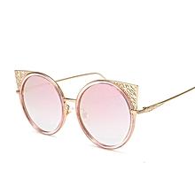 5a0e950a9f030 Cat Eye Sunglasses 2018 Vintage Women Fashion Designer Eye Glasses Coating Lens  Golden Metal Frames Round