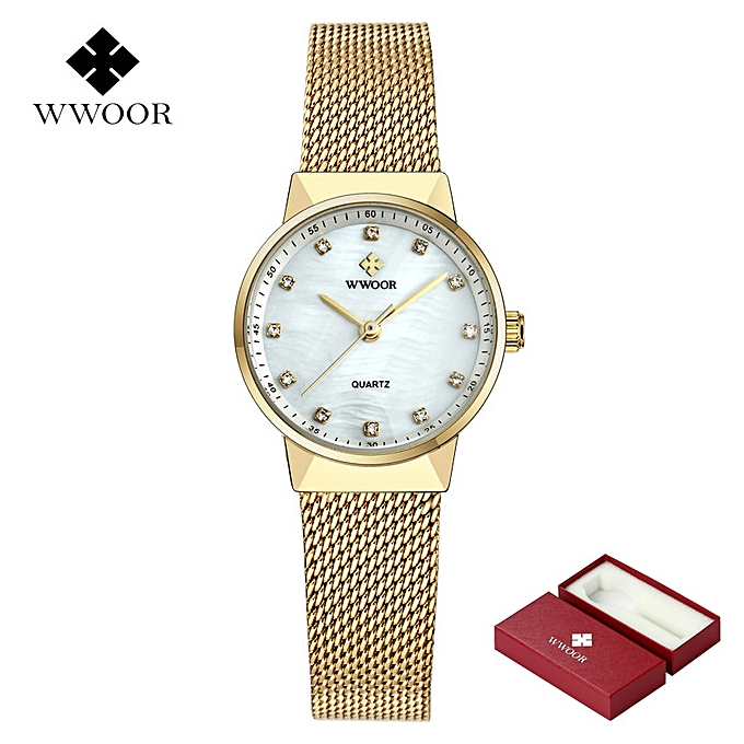 4892139a958 WWOOR 50m Waterproof Rose Gold Watch Women Quartz Watches Ladies Top Brand  Luxury Female Wrist Watch
