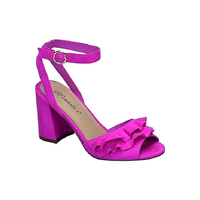 ac83d481c1b Breckelle s Women s Ruffle Front Open Toe Block Heel Sandal ...