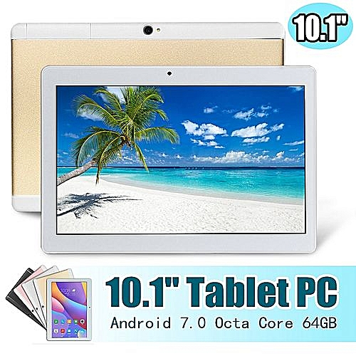 HOT SALE 10.1'' 4G+64GB Android 7.0 Tablet PC Octa 8 Core HD WIFI Bluetooth 2 SIM 4G - Gold