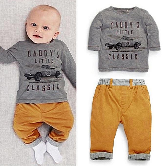 b7c3b36ad13 WEIXINBUY 2PCS Cool Car Baby Boy Girls Sets Outfits Top Tee T-Shirt+ ...