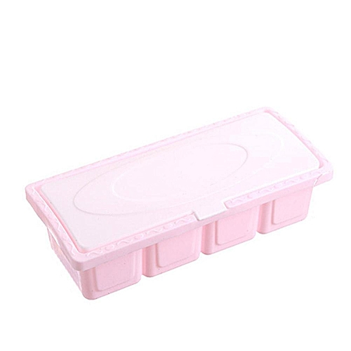 Plastic 4-grid Seasoning Storage Box Set Salt Condiment Spice Containers For Household Kitchen