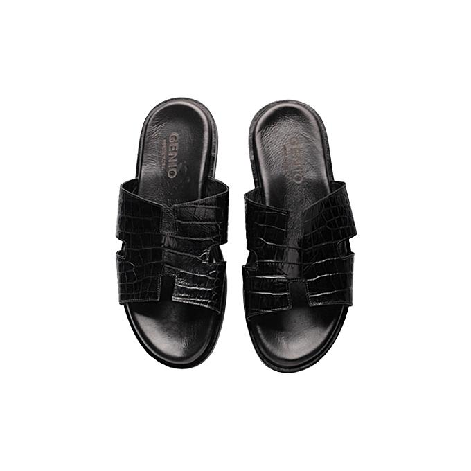 4f685ab51 Genio Black Croc Leather Palm Slippers