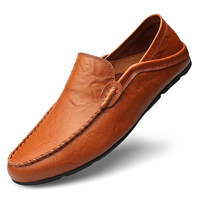 b5c7fc8df Big Size 37-47 Summer Genuine Leather Shoes Men Casual Moccasins-red Brown