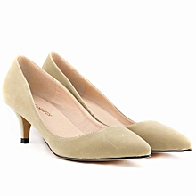 5cee4adbaf30 Women  039 s Pointed Toe High Heels Stiletto PU Leather Pumps - Nude