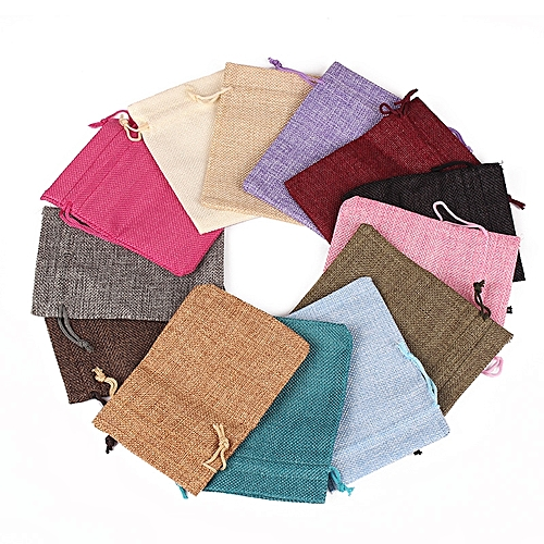 """3.9""""x5.5""""/10*14cm Wedding Party Favor Gift Pouch Jute Jewlery Pouches With Drawtring Vintage Natural Burlap Hessia Gift Candy Bags Party Supply, 50pcs/pack"""