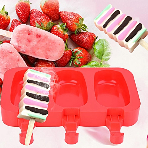 Silicone With Lid Ice Cream Bar 3 Cavities Ice Pop Mold With 20 Sticks