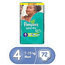 Baby Dry Diapers, Size 4, Jumbo Pack (72 Count)