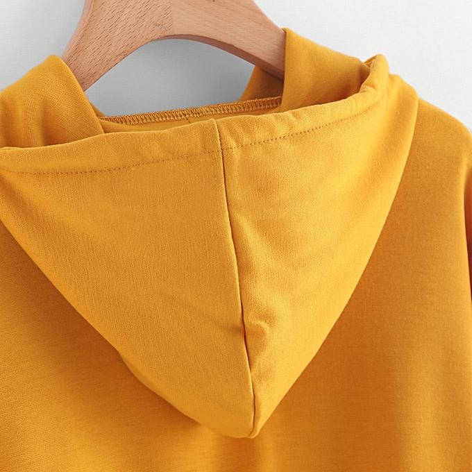 c854a8c4c2a6c8 ... Xingbiaocao Women Varsity-Striped Drawstring Crop Hoodie Sweatshirt  Jumper Crop Pullover Top - Yellow ...