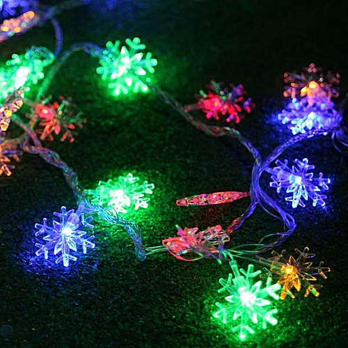 Christmas Day Decorative Lights 40LED Snowflake Style String Light Outdoor Light New Year's Eve Arrangement Flashing Lights Red US