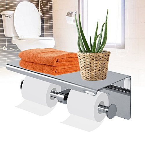 Paper Towel Holder Stainless Steel Wall Mount Toilet Paper Roll Rack Tissue Mobile Phone Holder Paper Towel Holder