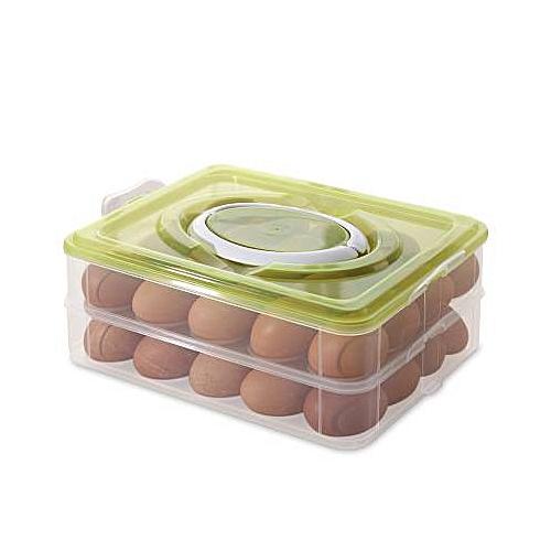 Double Layer Plastic Egg Box Kitchen Refrigerator 32 Grid Container Storage Box/Holder/Food Crisper Organizer - Random Colours