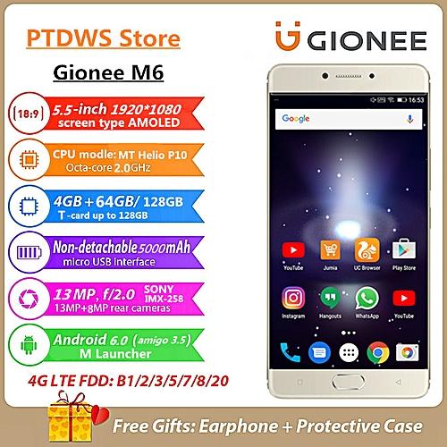 Gionee M6 5.5-Inch 4GB RAM+64GB ROM 5000mAh 13MP + 8MP Dual SIM 4G Gold