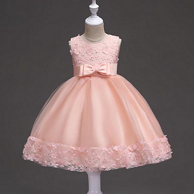 4e4cc776c8 New Baby Girls Kids Sleeveless Lace Flower Bowknot Wedding Princess Party  Dress - Peach