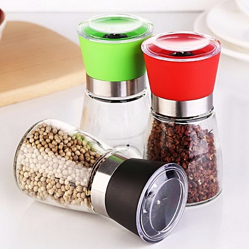 Mini Round Bottle Pepper Grinder, Adjustable Grinder, Kitchen Object Crusher Pepper Mill Yellow