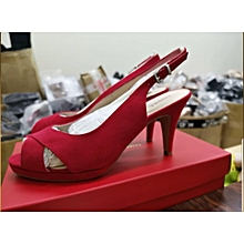 26e68ba6e85 Red Medium Heel Suede Sandals