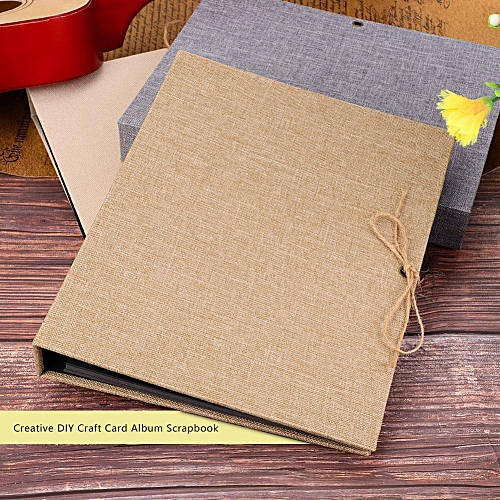 Creative Linen DIY Craft Card Album Scrapbook Simple Loose Leaf With Rope Strap 30 Pages