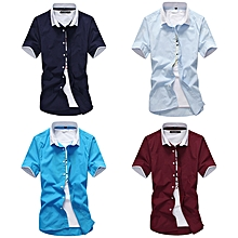 fd848d9546b5 4 In 1 Men Slim Short Sleeve Shirt Red/Navy/Light Blue/Blue
