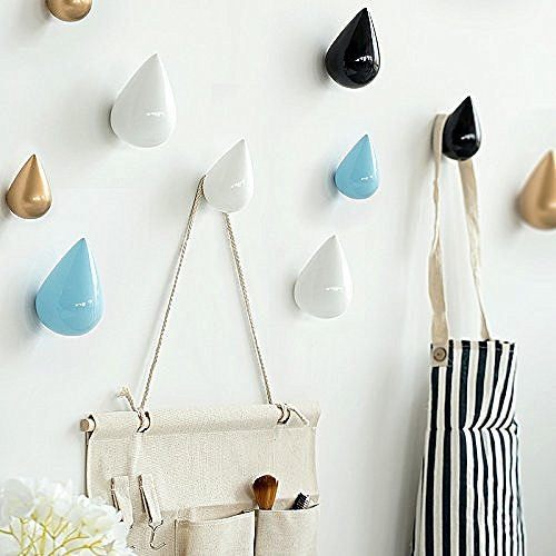 Honana HN-48 Brief Water Drop Shaped Hook Wooden Decorative Wall Mounted Hanger Bedroom L