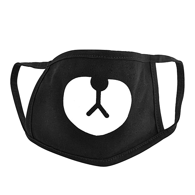 Unisex Bear Cotton Mouth Face Mask Respirator For Cycling Anti-Dust Black