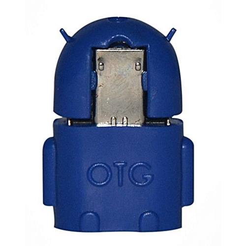 OTG Android Robot Shaped Micro USB Adapter (with Cover) - Blue