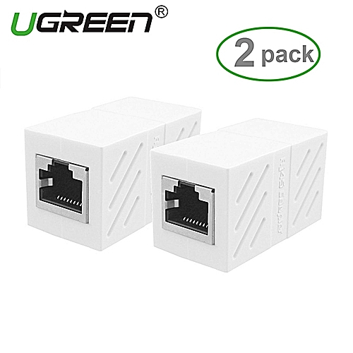 2Pack In-Line Coupler Cat7/Cat6/Cat5e Ethernet Cable Extender Adapter -White By HonTai