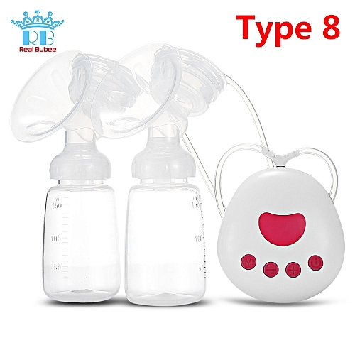 Real Bubee Single/Double Electric Breast Pump With Milk Bottle Infant USB BPA Free Powerful Breast Pumps Baby Breast Feeding(Type 8)