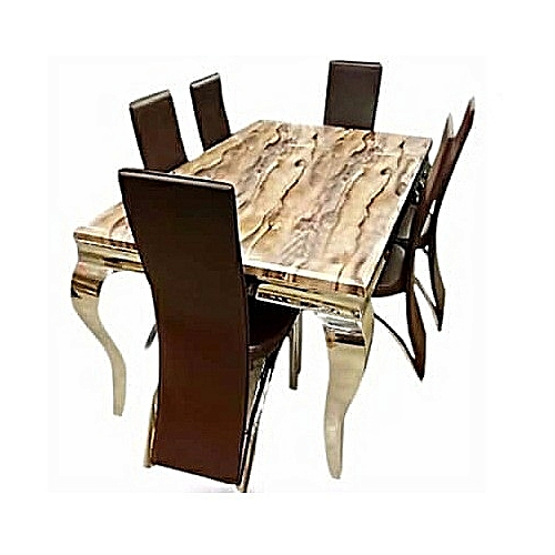 Marble Dining Table With Six Dining Chairs