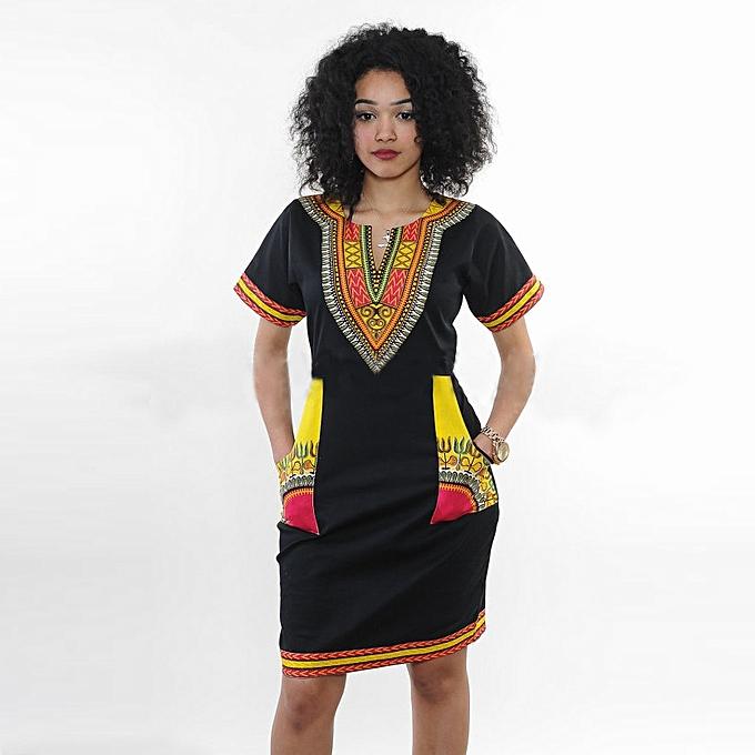 aba298a56e8 Women s African Dashiki Print Dress Bodycon Stretch Casual Midi Dresses