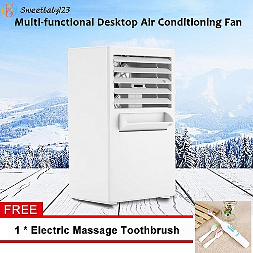 【Free Gift】Mini Portable Desktop Air Conditioning Fan For Cooling Summer Hot Day Use US Plug 100~240V