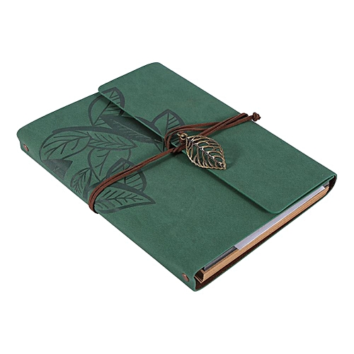 Artificial Leather Cover Retro Photo Album Leaf Type DIY Gift Green