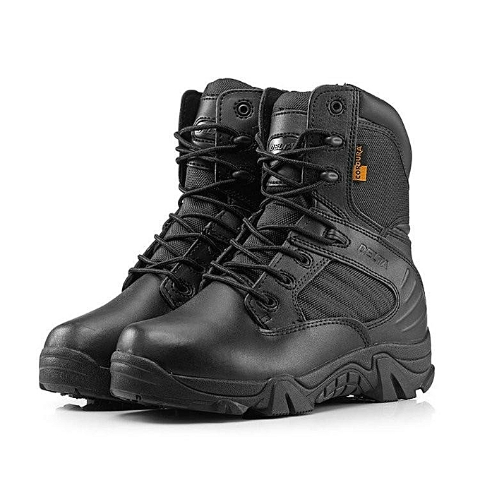 New Army Tactical Desert Mens Leather Combat Boots Military Shoes Soldier  BLACK dd50abdcd77