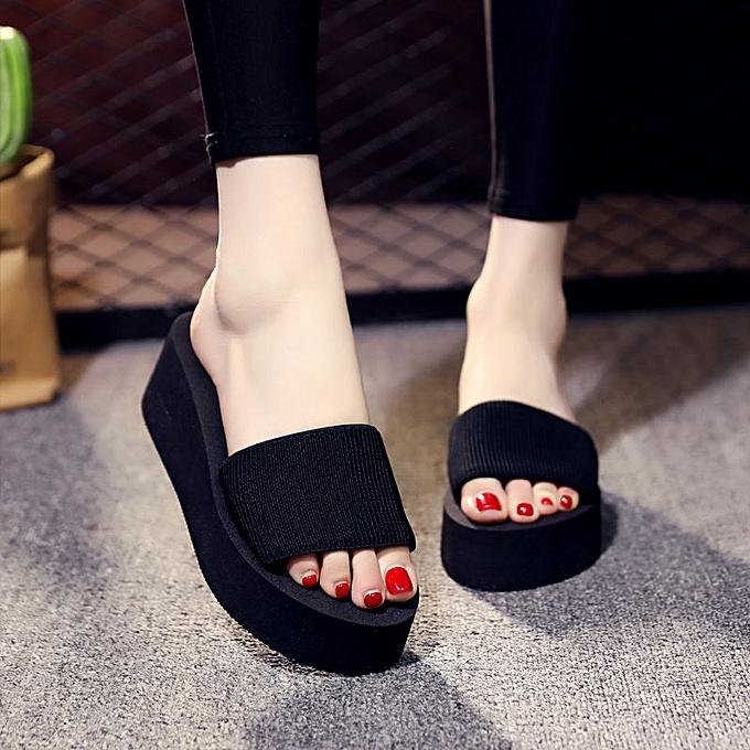 60065b31a424 Summer Woman Shoes Platform Bath Slippers Wedge Beach Flip Flops High Heel  Slippers For Women Brand