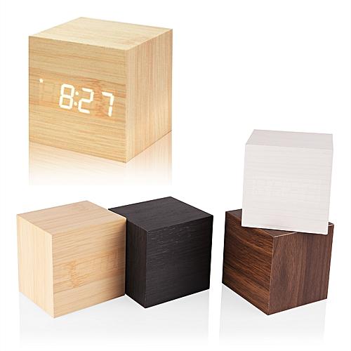 Modern Wooden Cube Design Digital LED Desk Alarm Clock Voice Control Thermometer Timer Calendar