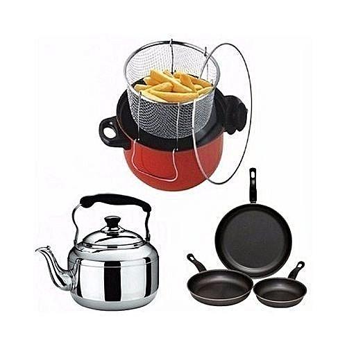 Deep Fryer + Whistling Kettle 3ltr+ 3 PCs Non Stick Fry Pan- Kitchen Bundle